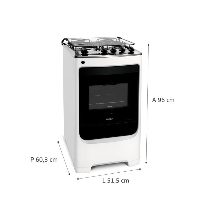 Fogão Consul 4 bocas Branco com acendimento automático - CFO4NAB