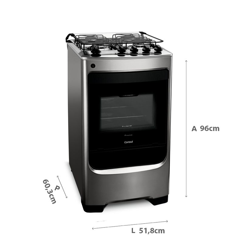 Fogão Consul 4 bocas cor Inox com acendimento automático - CFO4NAR