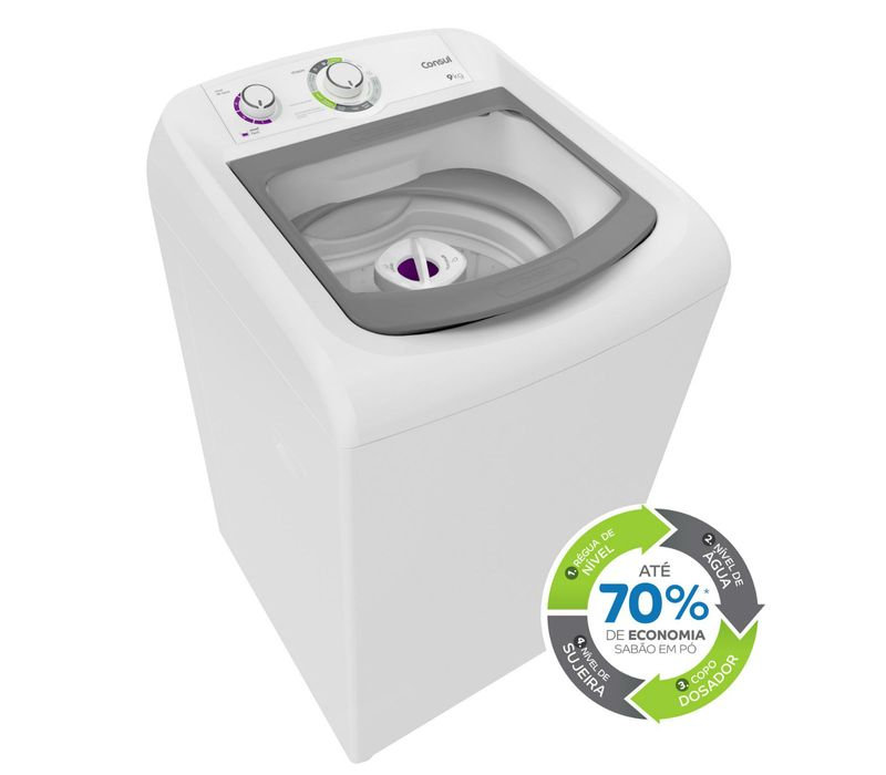 Máquina de Lavar Consul 9kg Dosagem Extra Econômica e Ciclo Edredom - CWB09AB