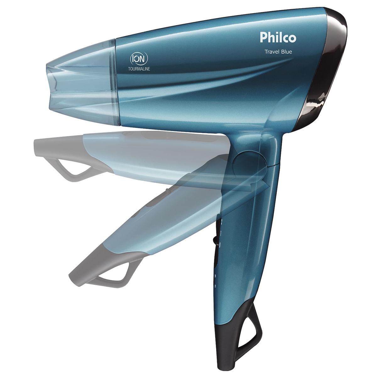Secador de Cabelo Philco Travel Blue PSC02 1200W - Bivolt