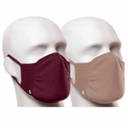 Kit com 2 Máscaras Lupo Zero Costura Adulto Vírus Bac-Off - Nude/Vinho