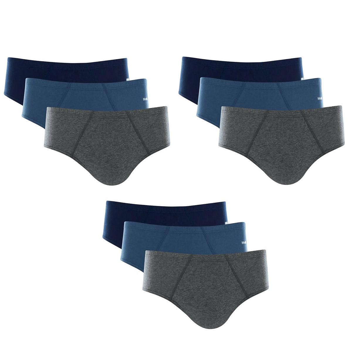 Kit 9 Cuecas Slip Mash 100% Algodão Comfort Clássica
