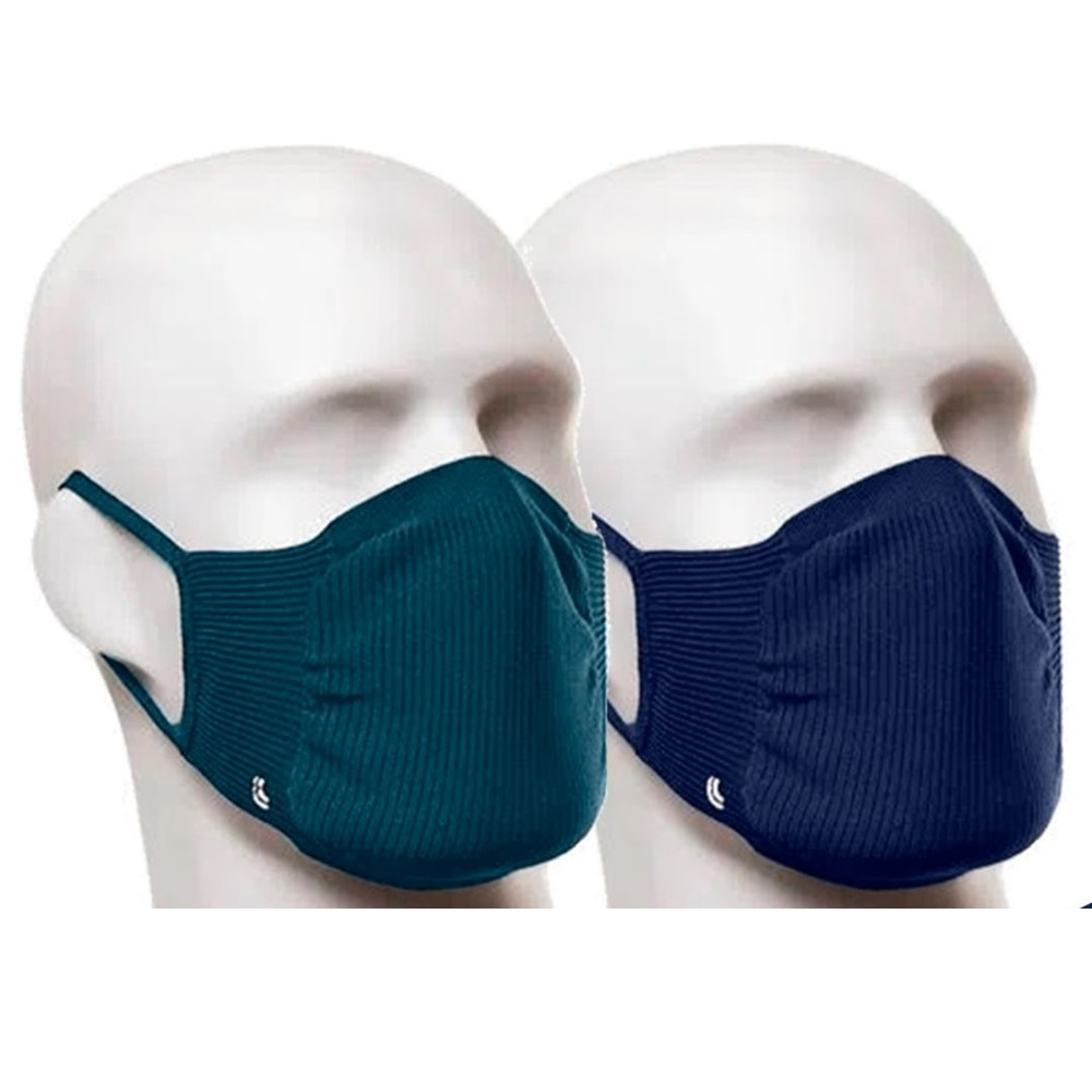 Kit com 2 Máscaras Lupo Zero Costura Adulto Vírus Bac-Off - Marinho/Verde