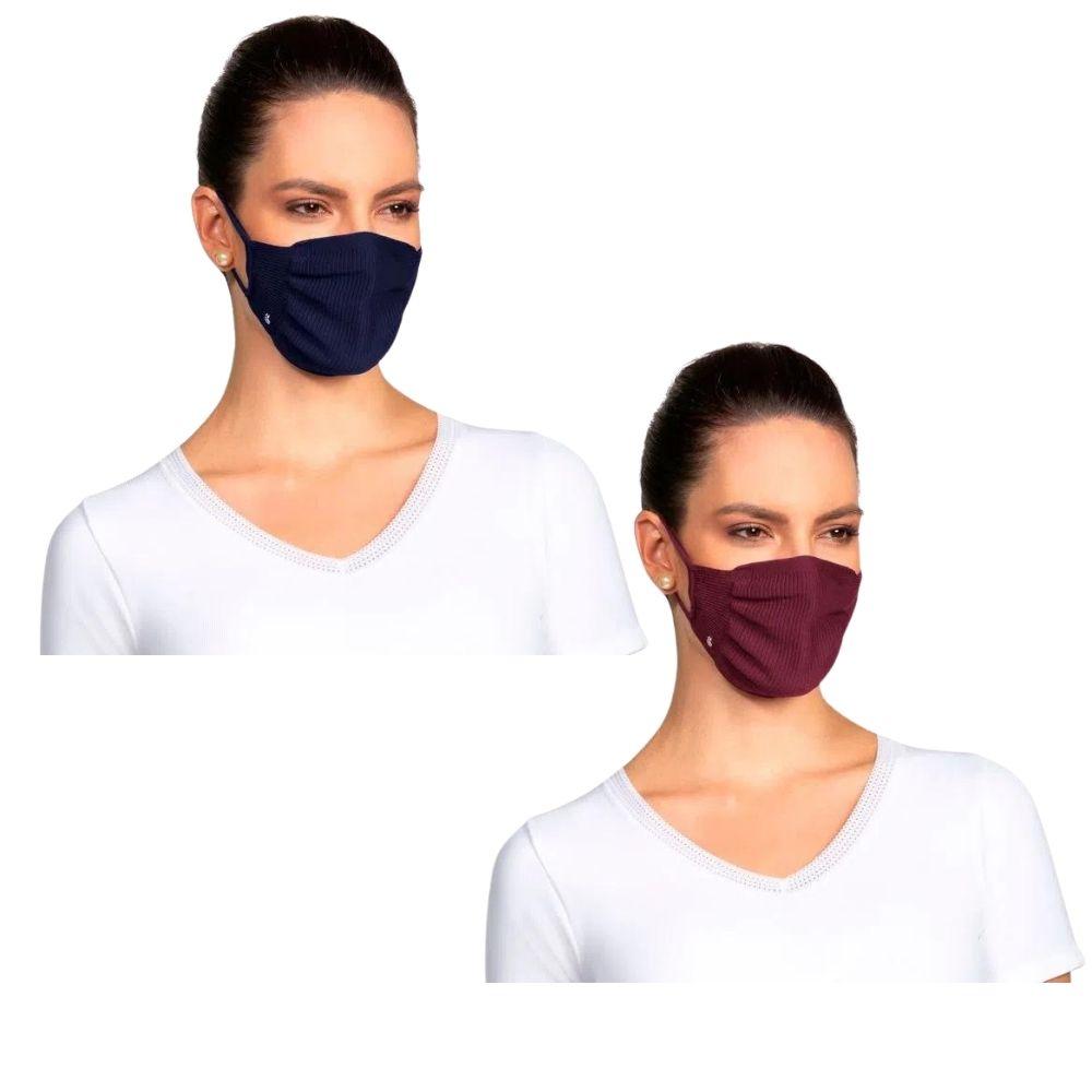 Kit com 2 Máscaras Lupo Zero Costura Adulto Vírus Bac-Off - Marinho/Vinho