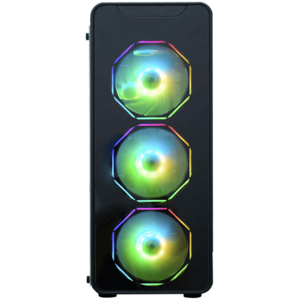 Gabinete Infinity Polygon preto LED RGB CG-08G8 K-MEX@