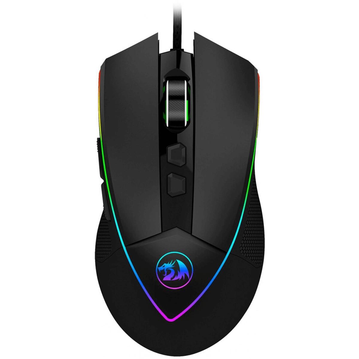 Mouse Gamer Redragon Emperor preto RGB