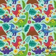 FABRICART - DINO FUNDO AZUL - Dinossauro - 25cm X 150cm - Tecido Tricoline