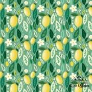 FABRICART - LIMÃO E FOLHAS - 25cm X 150cm - Tecido Tricoline