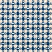 FABRICART - Mini Corações no Xadrez Azul Antigo - Basics Country - 25cm X 150cm - Tecido Tricoline