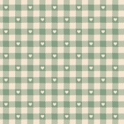 FABRICART - Mini Corações no Xadrez Verde Chá - Basics Country - 25cm X 150cm - Tecido Tricoline