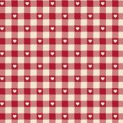 FABRICART - Mini Corações no Xadrez Vermelho Antigo - Basics Country - 25cm X 150cm - Tecido Tricoline