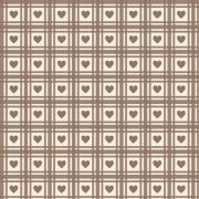 FABRICART - Mini Corações Quadriculados Castanho - Basics Country - 25cm X 150cm - Tecido Tricoline