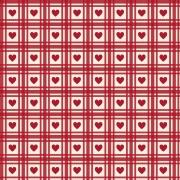 FABRICART - Mini Corações Quadriculados Vermelho Antigo - Basics Country - 25cm X 150cm - Tecido Tricoline