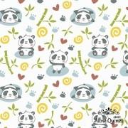 FABRICART - PANDA COM BAMBU - 25cm X 150cm - Tecido Tricoline