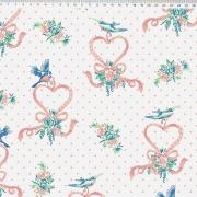 FERNANDO MALUHY - Coração com Pássaros Coleção Boutique do Pano - 25cmX150cm - Tecido Tricoline