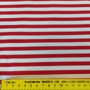 FERNANDO MALUHY - Listrado Médio Vermelho Fundo Branco - 25cmX150cm - Tecido Tricoline