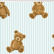 FERNANDO MALUHY - TEDDY BEAR - URSO LISTRAS AZUL CLARO - 25cm X 150cm - Tecido Tricoline
