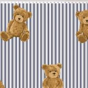 FERNANDO MALUHY - TEDDY BEAR - URSO LISTRAS AZUL MARINHO - 25cm X 150cm - Tecido Tricoline