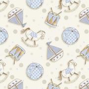 FUXICOS E FRICOTES - BRINQUEDOS BABY AZUL - DIGITAL - 25cm X 150cm - Tecido Tricoline