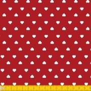 PERIPAN - CORAÇÃO BRANCO FUNDO VERMELHO - 25cm X 150cm - Tecido Tricoline