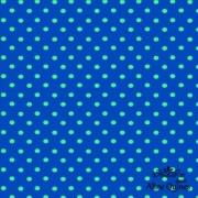 RENATA BLANCO - POÁ VERDE FUNDO AZUL - 25cm X 150cm - Tecido Tricoline