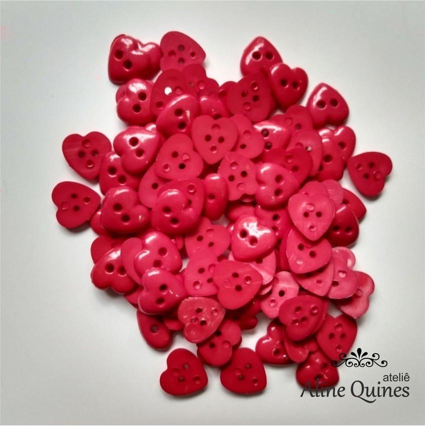 Botão Coração Vermelho - 20 unidades - Para Camisaria e Artesanato