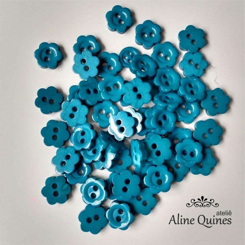 Botão Flor Azul - 20 unidades - Para Camisaria e Artesanato