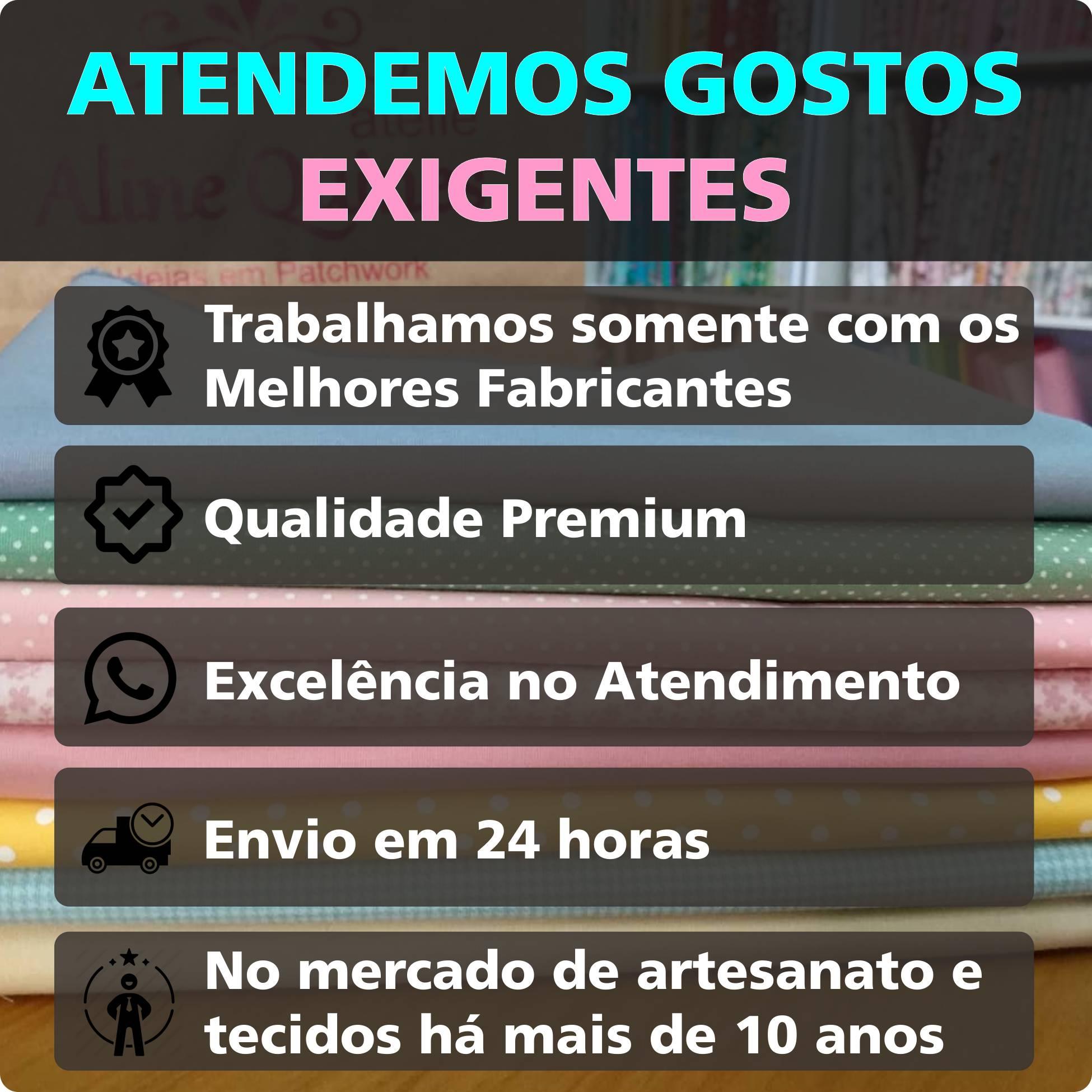 FABRICART - BOTÃO LISTRADO AZUL NOITE - 25cm X 150cm - Tecido Tricoline