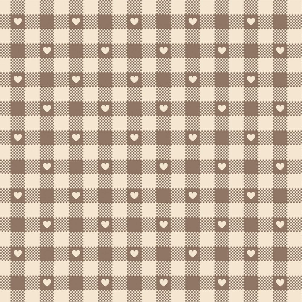 FABRICART - Mini Corações no Xadrez Castanho - Basics Country - 25cm X 150cm - Tecido Tricoline
