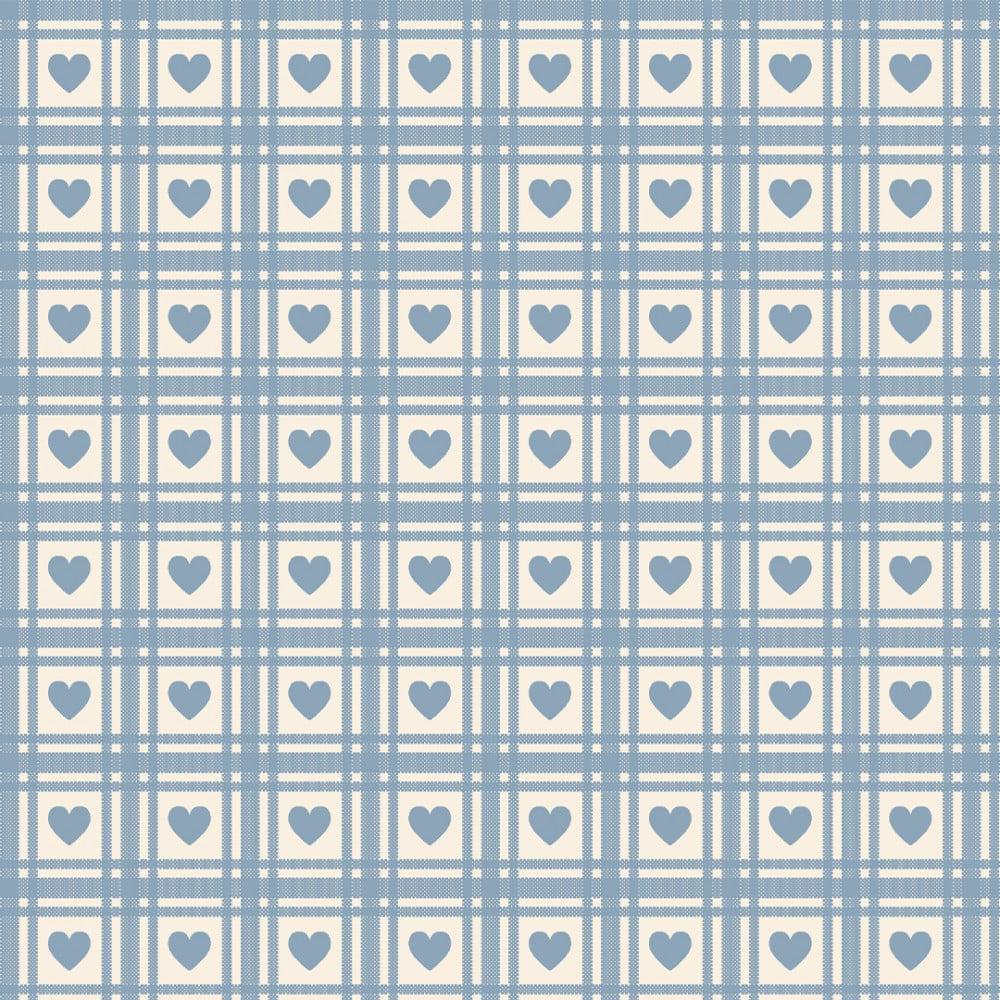 FABRICART - Mini Corações Quadriculados Hortênsia - Basics Country - 25cm X 150cm - Tecido Tricoline