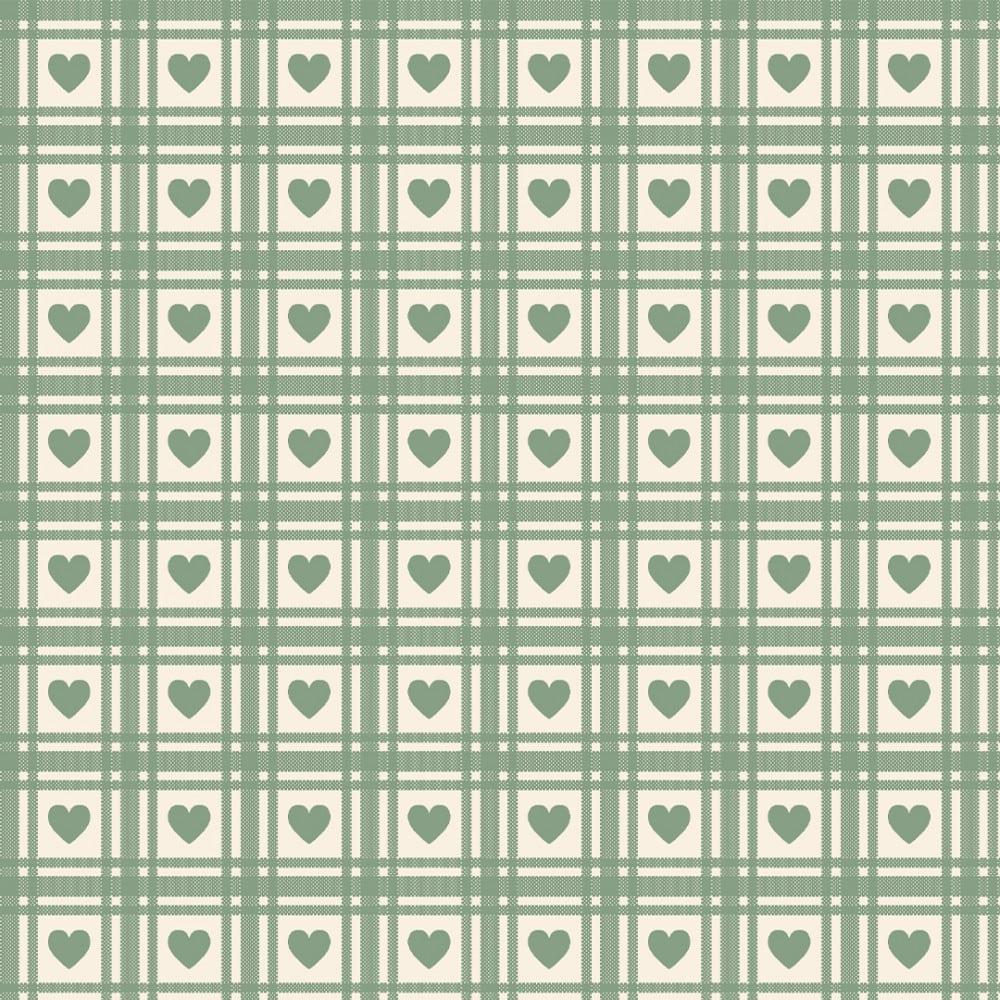 FABRICART - Mini Corações Quadriculados Verde Chá - Basics Country - 25cm X 150cm - Tecido Tricoline