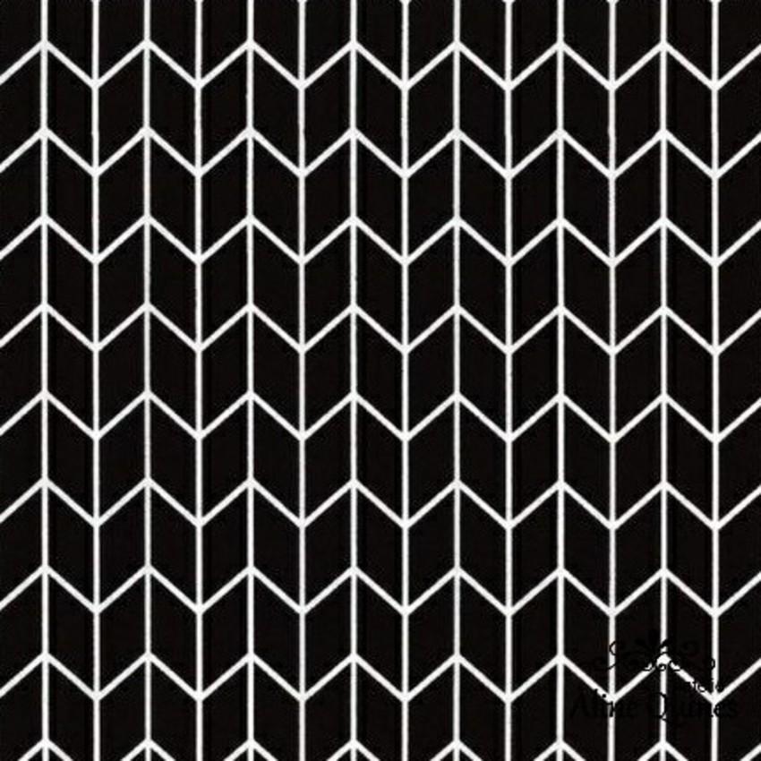 FERNANDO MALUHY - CHEVRON PRETO - 25cm X 150cm - Tecido Tricoline