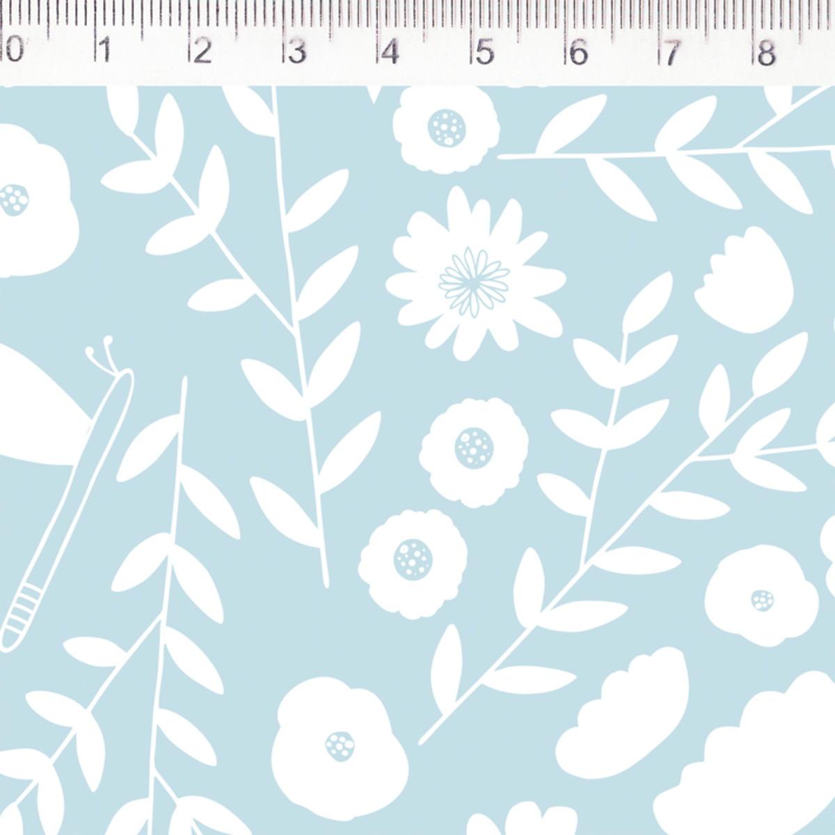 FERNANDO MALUHY - Floral Fundo Azul Coleção Pequeno Quintal - 25cmX150cm - Tecido Tricoline
