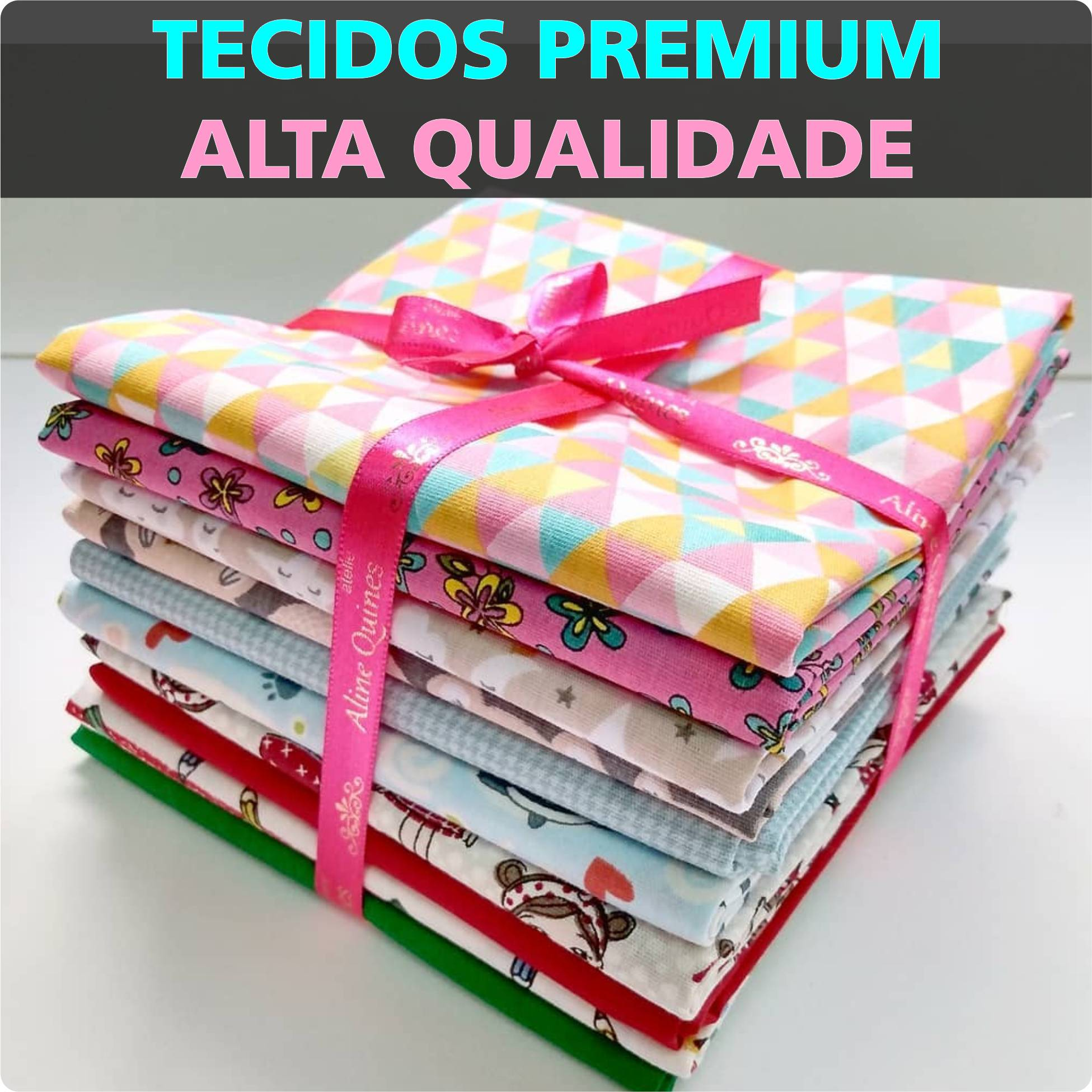 FERNANDO MALUHY - HELLO KITTY HEADS FUNDO AZUL - 25cm X 150cm - Tecido Tricoline