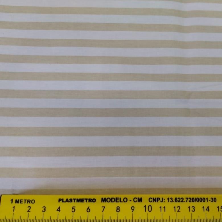 FERNANDO MALUHY - Listrado Médio Bege Fundo Branco - 25cmX150cm - Tecido Tricoline