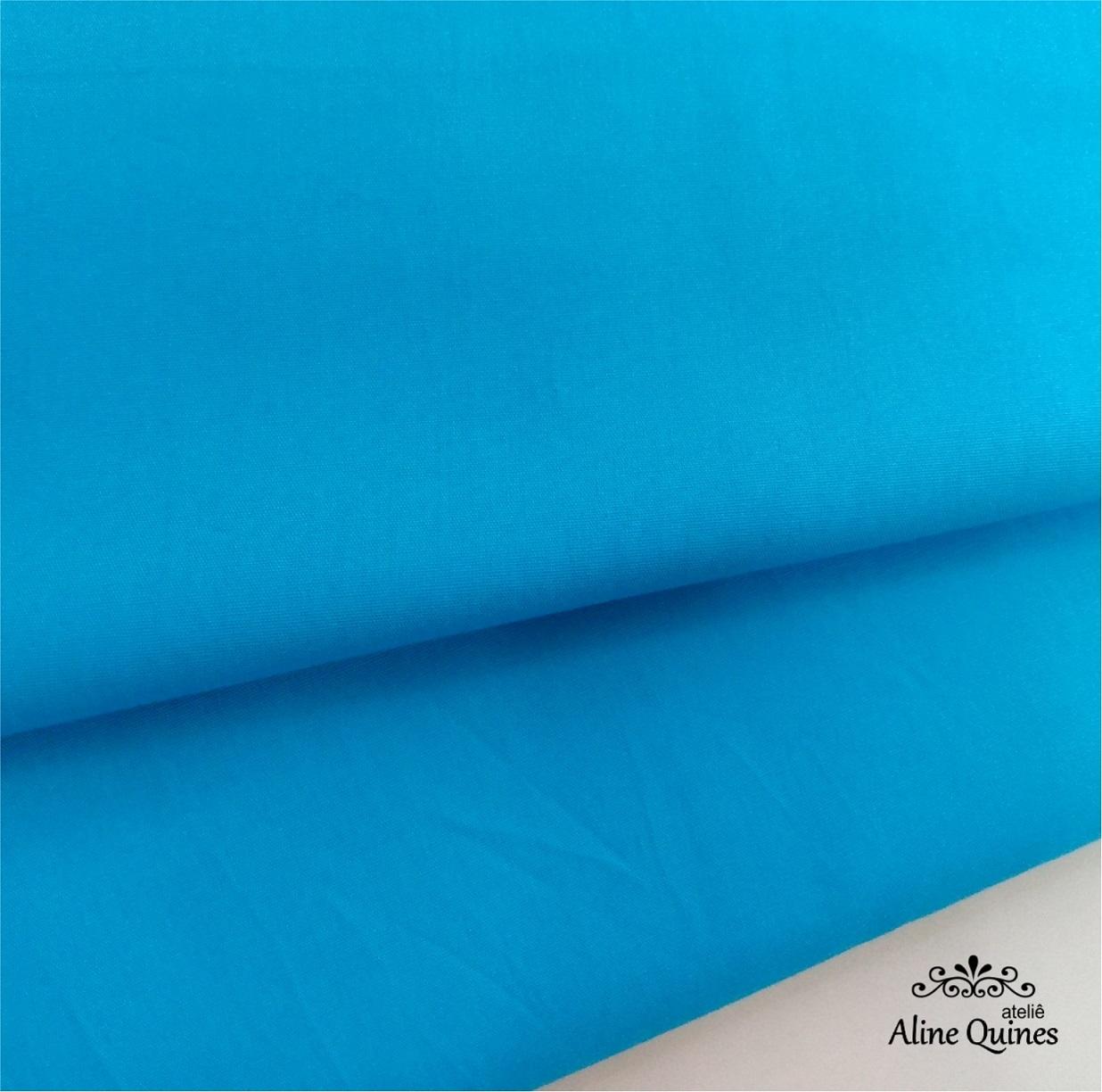 FERNANDO MALUHY - Tecido Azul Turquesa Liso - 25cm X 150cm - Tricoline