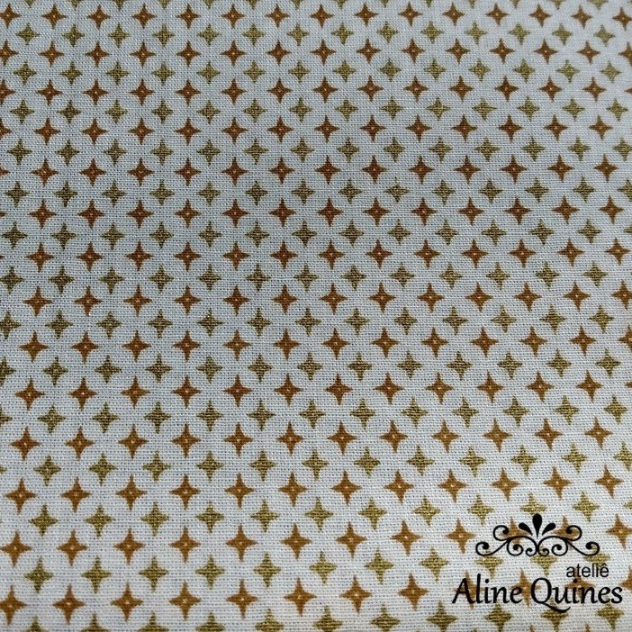 TRICOLINE - ESTRELAS DOURADAS - 25cm X 140CM - Tecido Tricoline