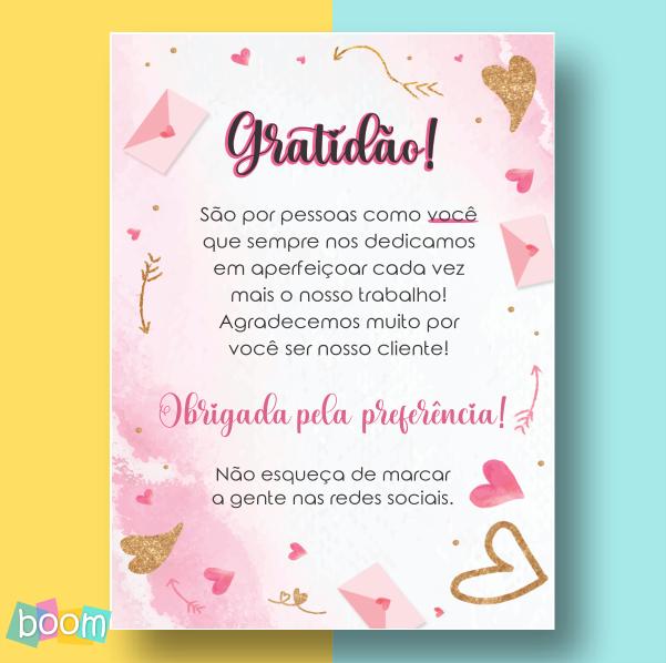 Cartão de Agradecimento - CÓD CA 305