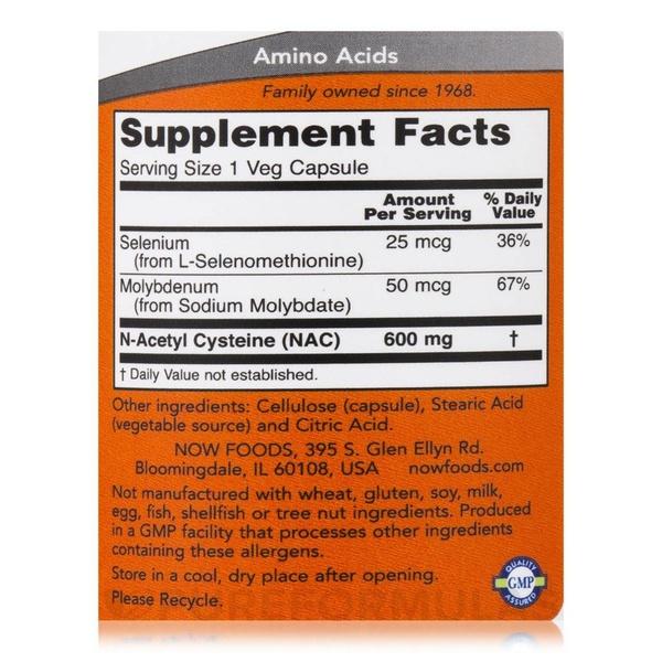 NAC - N Acetilcisteina - Now Foods (100 Cápsulas - 600 mg)