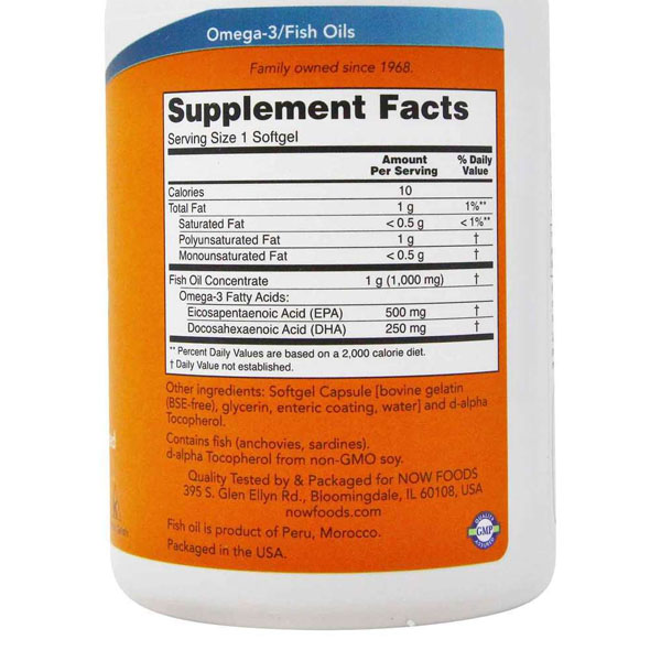 Ômega 3 DHA 500  EPA 250 - Now Foods ( 90 Cápsulas - Importado )