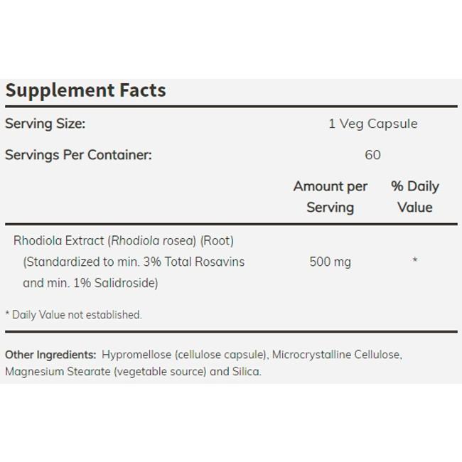 Rhodiola Rosea - Now Foods (60 Cápsulas - 500 mg)
