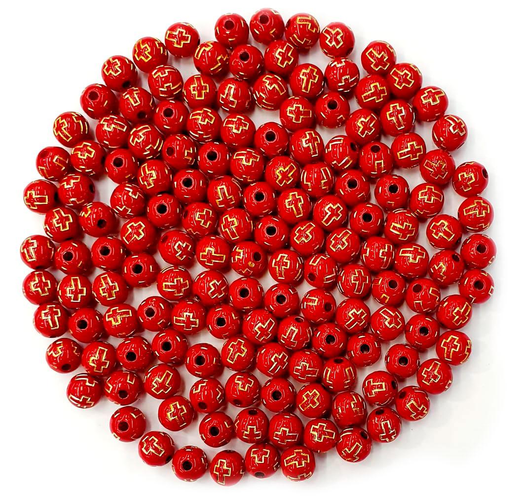 Bola com Cruz Vermelho com Dourado 08 MM