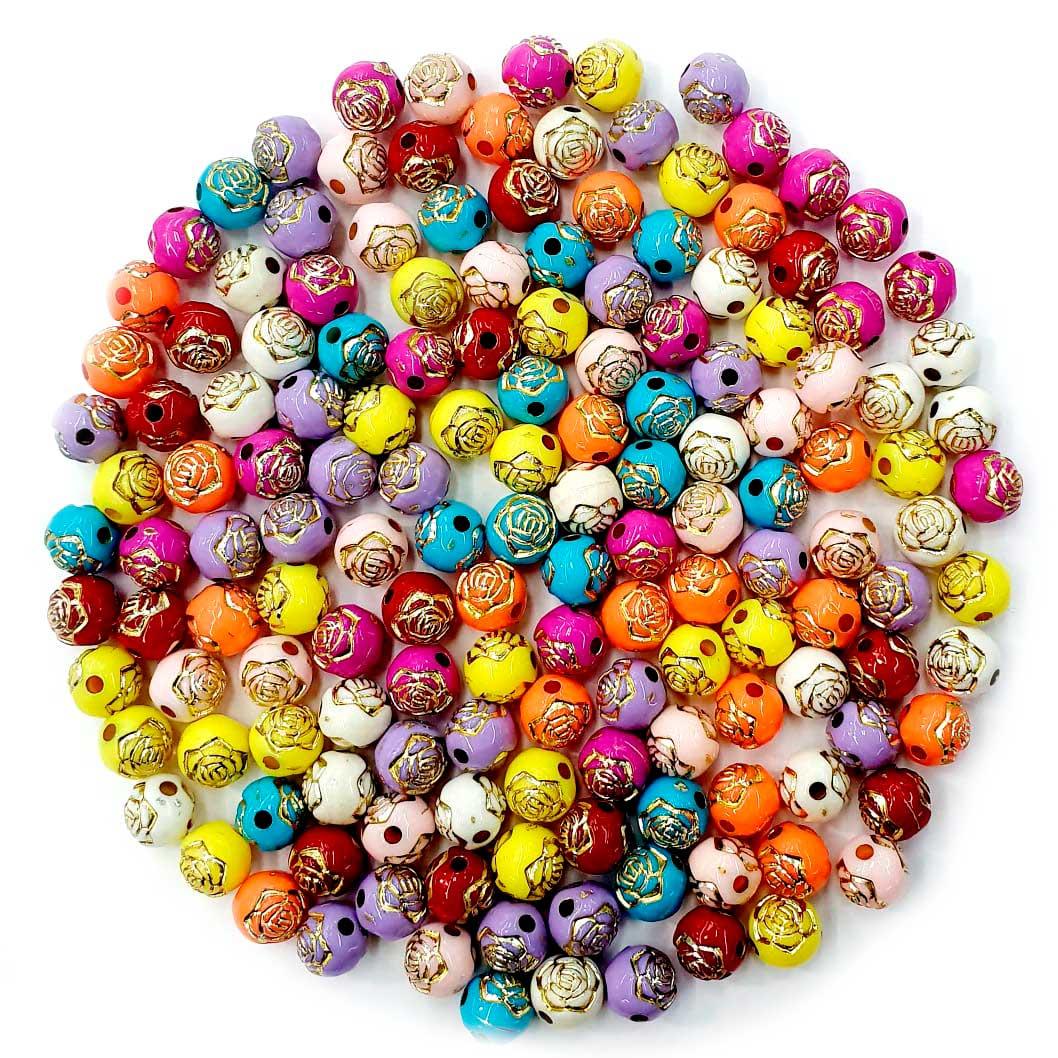 Bola com Flor Colorido com Dourado 8 MM