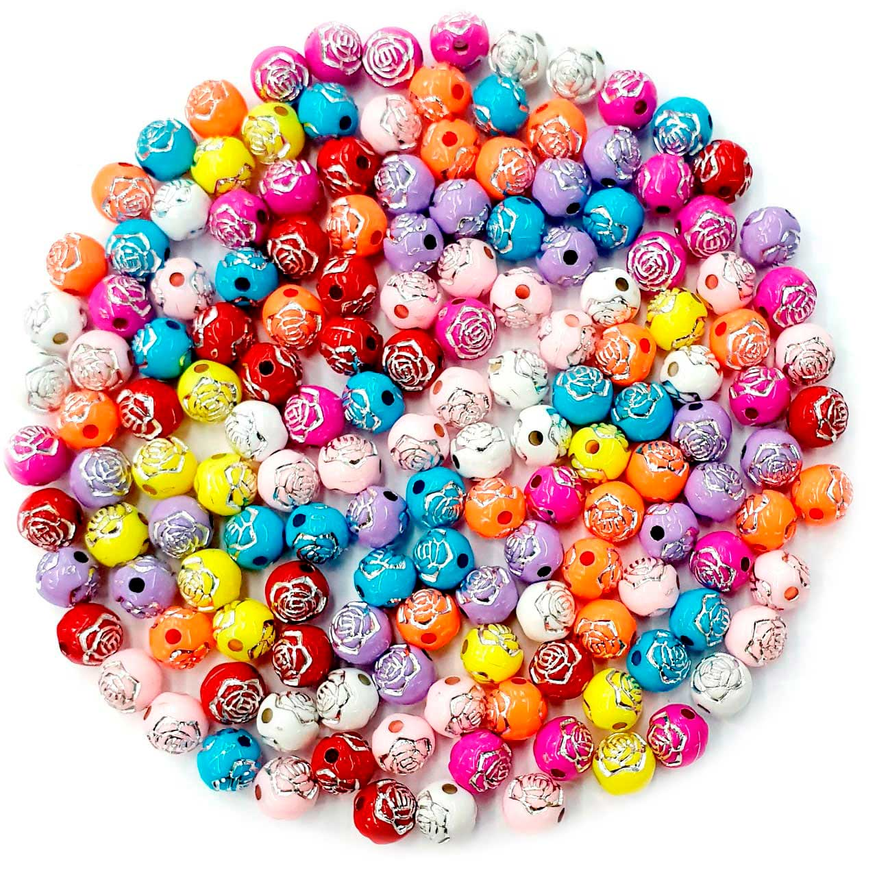 Bola com Flor Colorido com Prata 8 MM
