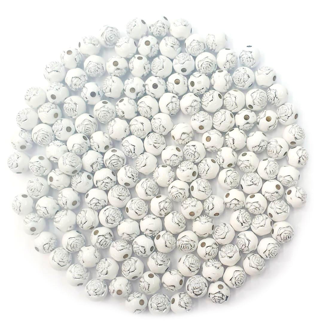 Bola com Flor Branco com Prata 8 MM