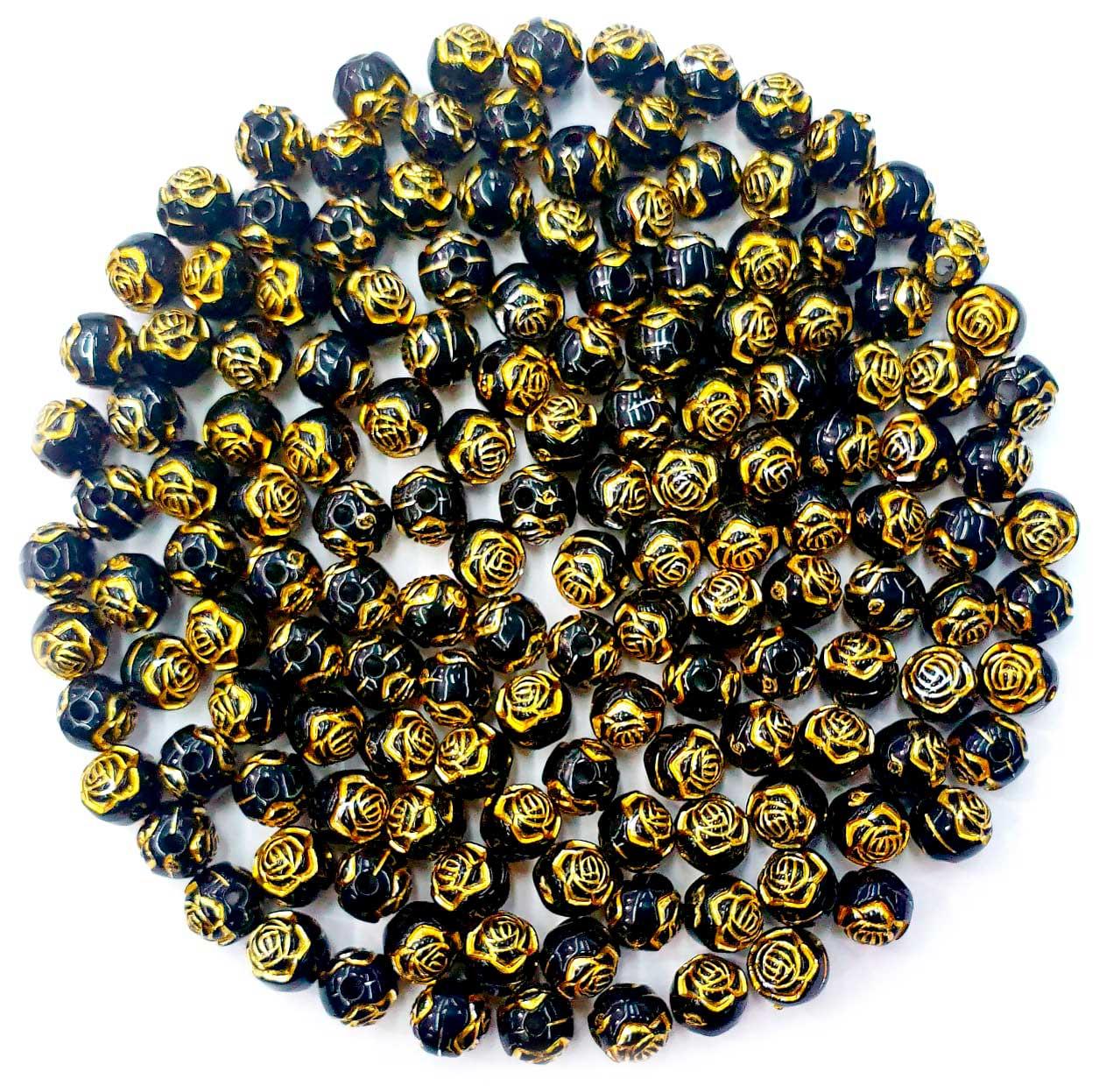 Bola com Flor Preto com Dourado 8 MM