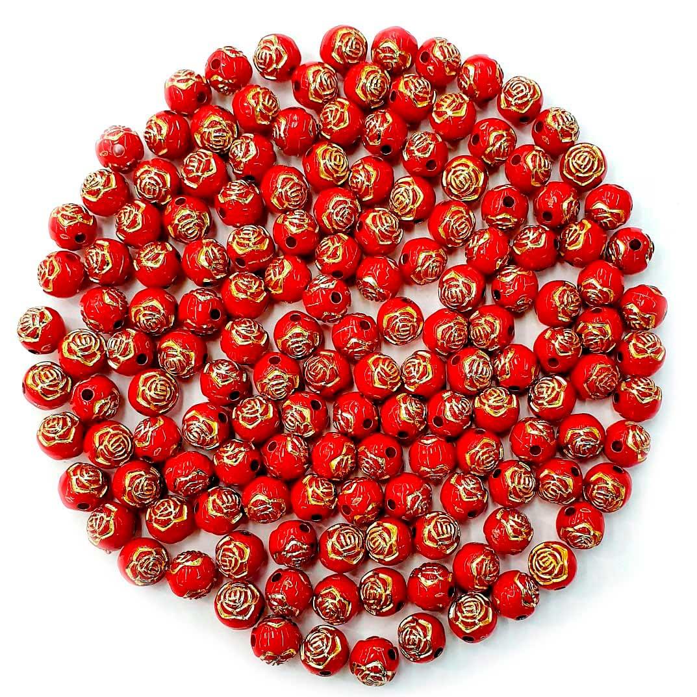 Bola com Flor Vermelho com Dourado 8 MM