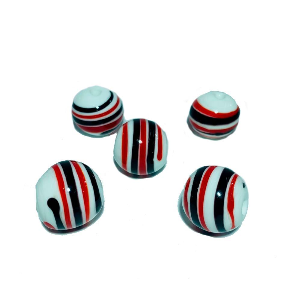 Bola de Murano GG Branco com Preto e Vermelho