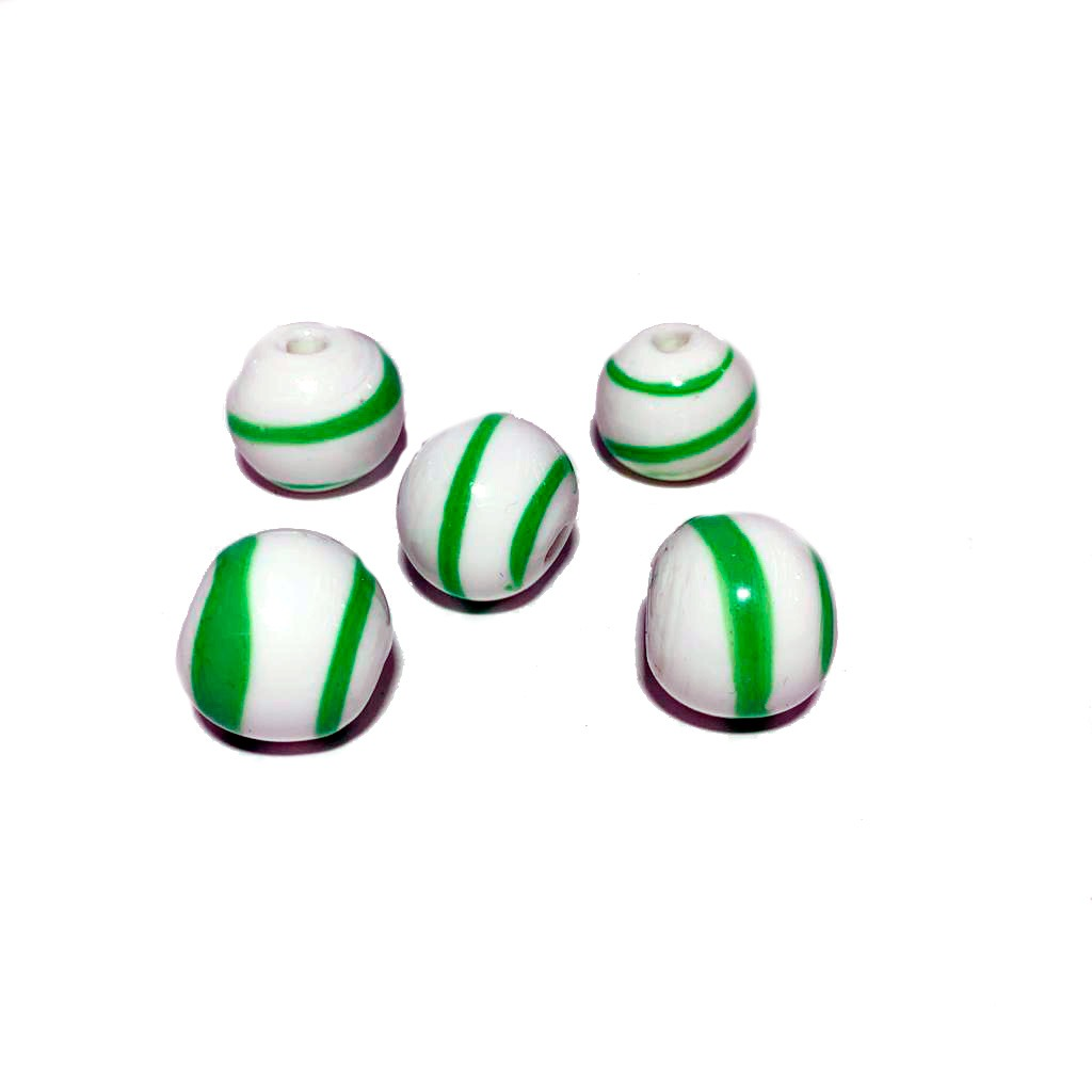 Bola de Murano GG Branco com Verde Limão