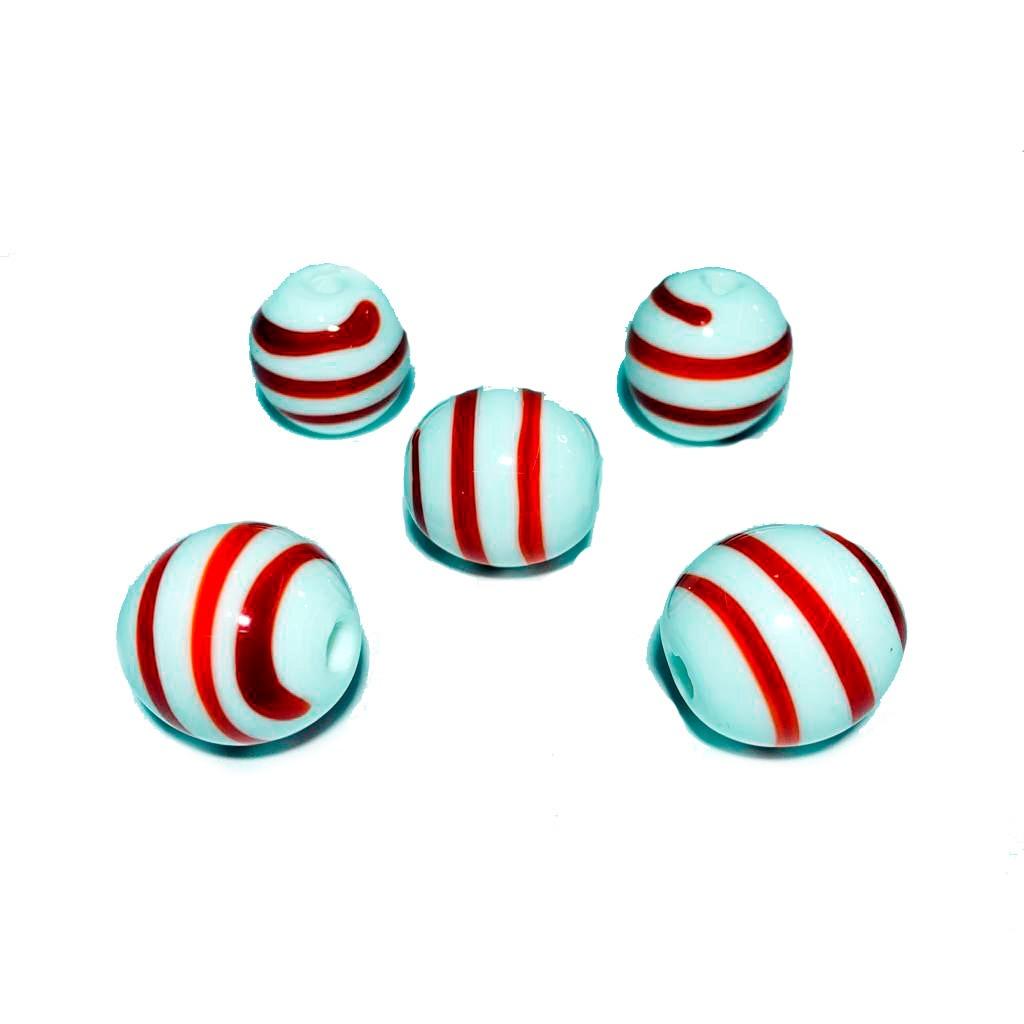 Bola de Murano GG Branco com Vermelho